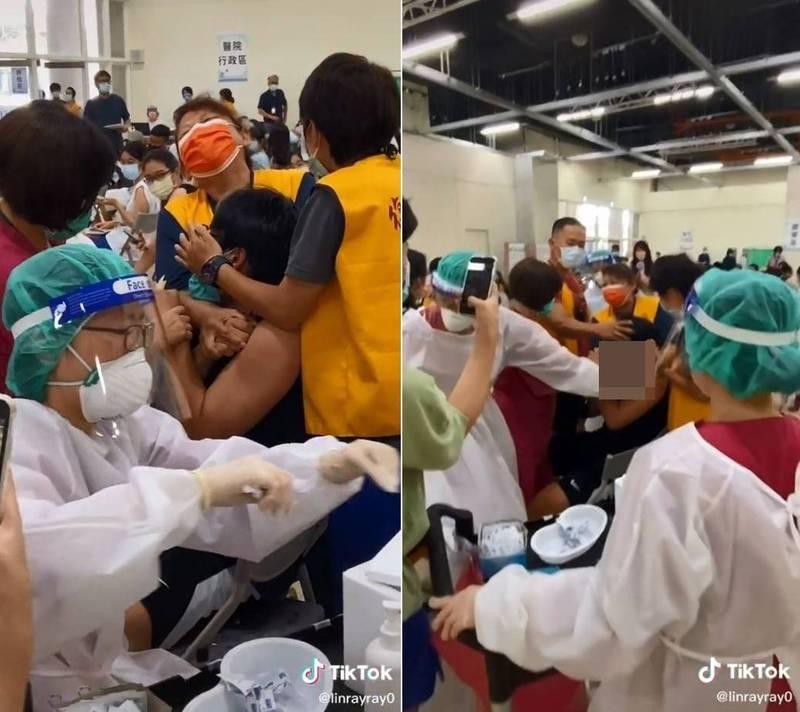 台北市一名男高中生極度「怕針」,接種時不斷慘叫,並作勢想離開,4至5名志工和護理師則在旁安撫、壓制。(翻攝爆廢公社公開版)