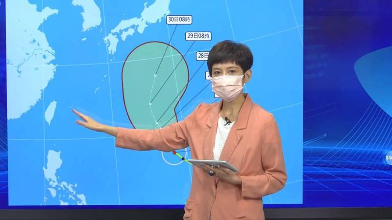 氣象局預報中心技正羅雅尹表示,蒲公英颱風今上午增強為中颱,對台灣無直接影響。(圖:氣象局提供)