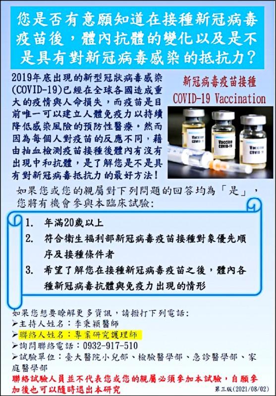李秉穎醫師主持的「疫苗接種後抗體濃度臨床試驗」,在臉書號召測試者。(取自臉書)