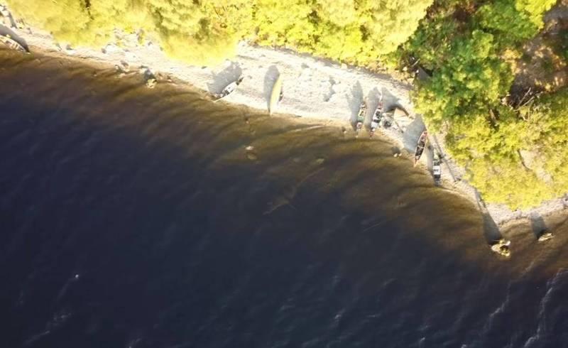 英國蘇格蘭尼斯湖水怪清晰畫面曝光,空拍機在湖面上拍到疑似「蛇頸龍」的畫面。(richardoutdoors 授權使用)