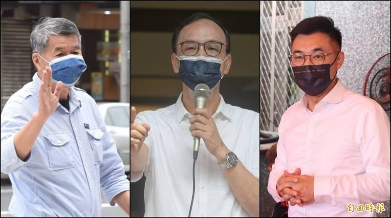 國民黨今(25日)舉辦黨主席選舉,前主席朱立倫(中)票數位居第一、張亞中(左)第二、現任主席江啟臣(右)排名第三。(資料照,本報合成)