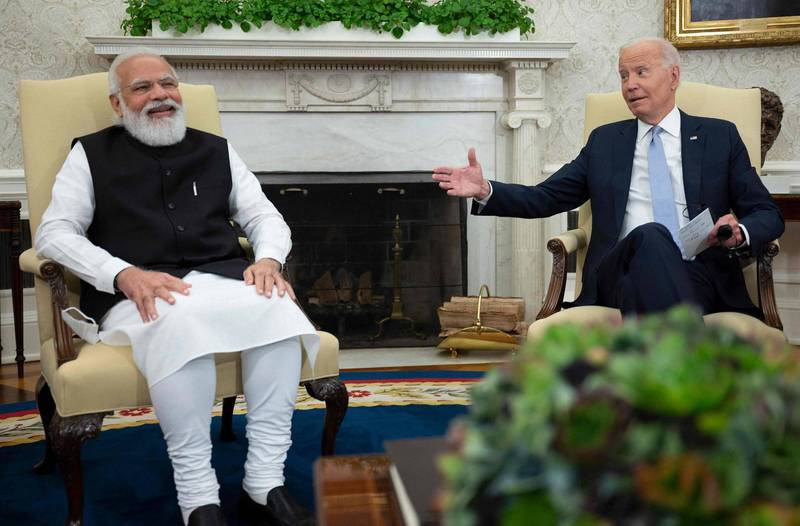 美總統拜登在白宮接待印總理莫迪。(法新社)