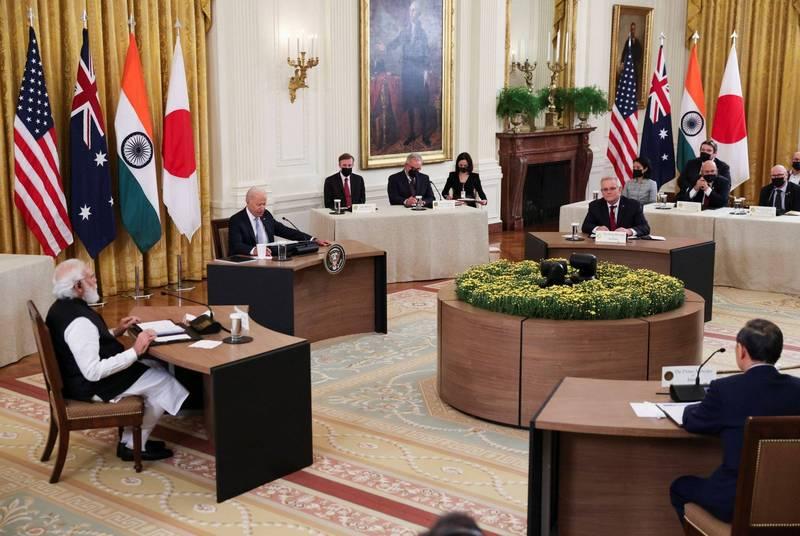 美國總統拜登、日本首相菅義偉、印度總理莫迪、澳洲總理莫里森展開四方安全對話(Quad),強調會建立不受脅迫的印太地區,雖然當中並沒有提到中國,但針對北京政府的意味相當明顯。(路透)