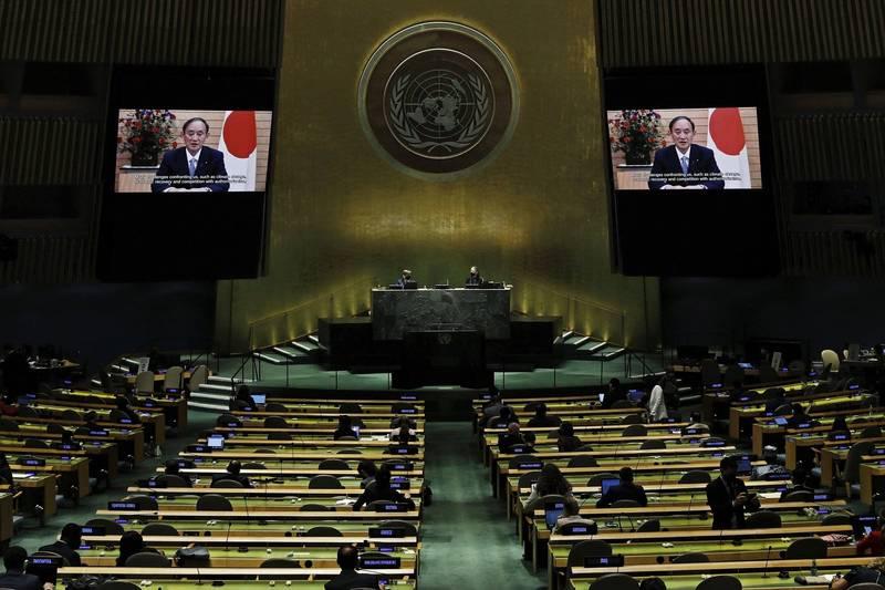 日本首相菅義偉今天在聯合國大會總辯論發表預錄演說,特別為台灣想以觀察員身分參與世界衛生大會(WHA)發聲。(美聯社)