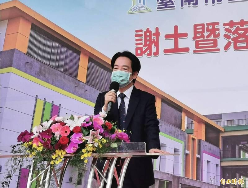 副總統賴清德回到台南出席鹽行國中落成典禮,感謝大家的支持,讓他有機會共同參與這座城市的發展,這是一生的榮幸。(記者吳俊鋒攝)