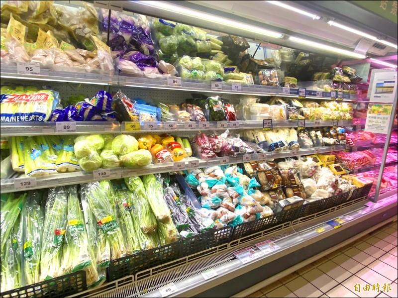 連鎖賣場一般葉菜類零售價格仍在合理範圍,但不到1公斤的小顆高麗菜,價格近150元。(記者楊心慧攝)
