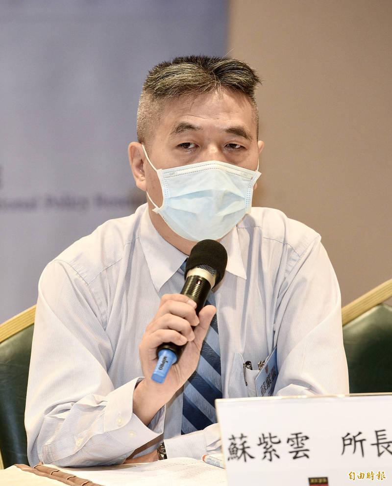 國防安全研究院軍事戰略暨產業所長蘇紫雲今指出,現階段台灣政府加速增加國防預算,是正確的訊號,台灣在國防預算調整也會給其他盟國信心。(記者羅沛德攝)