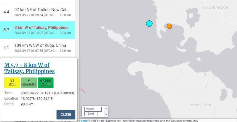 菲律賓呂宋島八打雁省於當地時間今晨1點多發生芮氏規模5.7地震,據傳當地居民感受劇烈搖晃,深夜時紛紛跑到戶外,不過目前並未傳出有災情或人員傷亡。(圖擷自USGS)