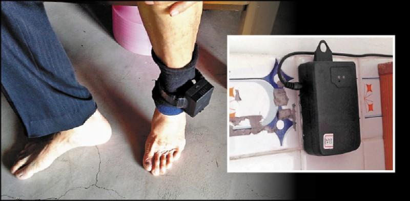 為避免性侵犯假釋後再犯 案,須戴電子腳鐐監控。 電子腳鐐感應器(右圖) 裝置在假釋犯住處,每天 需回家感應,圖為示意圖 。 (資料照)