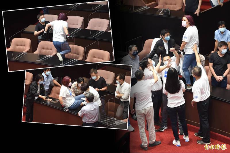 藍綠立委在立法院議場衝突。(記者劉信德攝,本報合成)