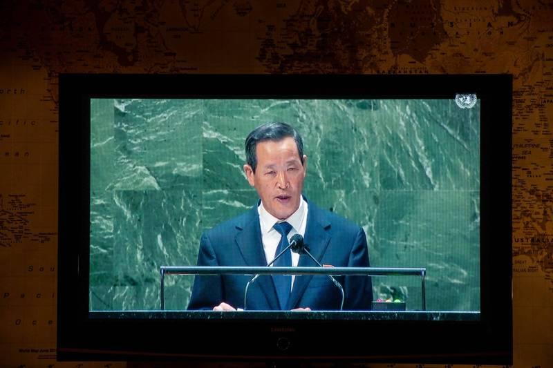 北韓駐聯合國大使金星聲稱「沒有人可以否定北韓自衛及測試武器的權利」。(彭博)