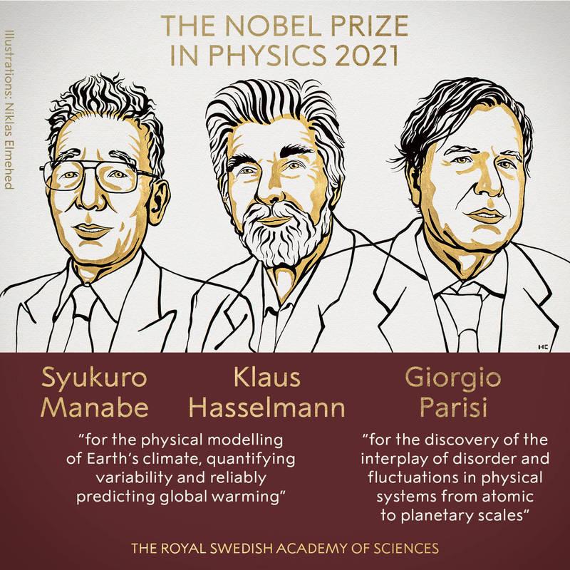 2021諾貝爾物理獎由美國氣象學家真鍋淑郎、德國海洋和氣候學家哈塞爾曼及義大利理論物理學家帕里西(從左至右)獲獎。(圖翻攝自諾貝爾獎官方推特)