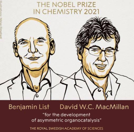 來自德國的化學家本亞明·利斯特 (Benjamin List)和來自蘇格蘭的大衛·麥克米倫(David W.C. MacMillan)獲得2021年的諾貝爾化學獎。(擷取自諾貝爾獎官方推特)