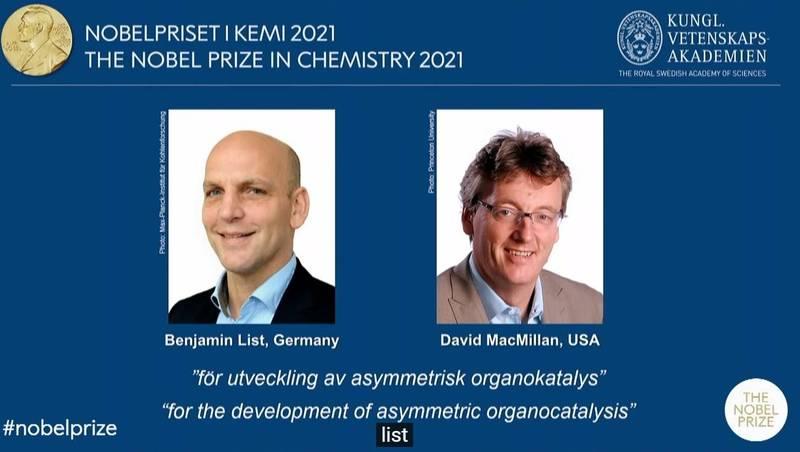 2021年諾貝爾獎化學獎今(6)日揭曉得主,由化學家本亞明·利斯特 (Benjamin List)和大衛·麥克米倫(David W.C. MacMillan)共同獲獎。(擷取自諾貝爾官方直播)
