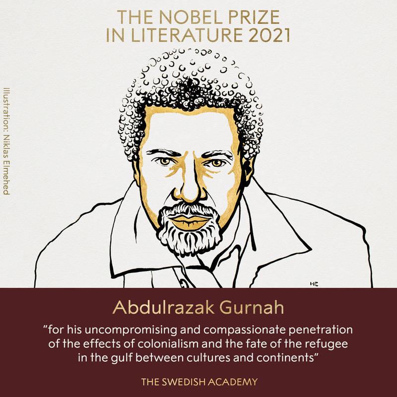 坦尚尼亞小說家古納獲得2021諾貝爾文學獎。(圖翻攝自諾貝爾獎官方推特)