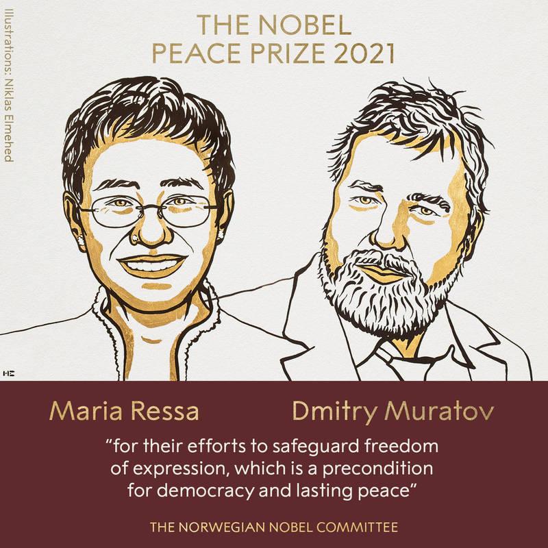 2021年諾貝爾獎和平獎今(8日)得主揭曉,由菲律賓女記者雷薩(左)與俄羅斯新聞編輯穆拉托夫(右),以表彰他們為維護言論自由所做的努力,這是民主與和平的先決條件。(圖取自諾貝爾獎官網)