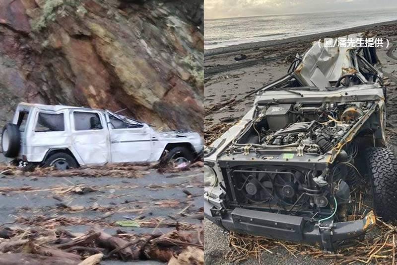 10日下午這輛賓士大G在宜蘭縣南澳鄉神秘沙灘被大浪吞噬,殘骸今天在岸邊被發現,已面目全非。(潘先生提供,本報合成)