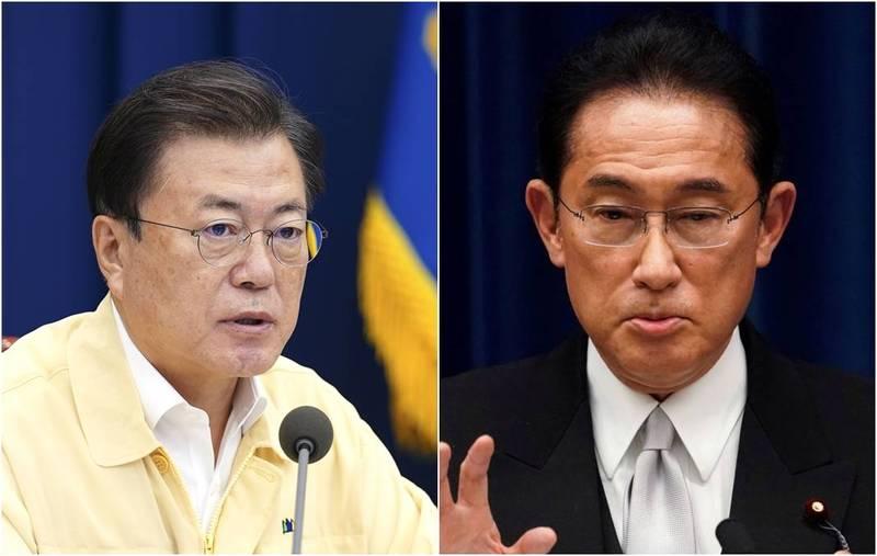 日本新任首相岸田文雄上任後已和多國領導人通話,但尚未與南韓總統文在寅電話聯絡。(歐新社、路透,本報合成)