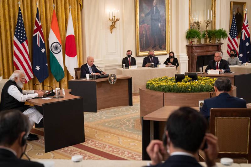 美國、日本、澳洲和印度組成「四方安全對話」(Quad)。(彭博)