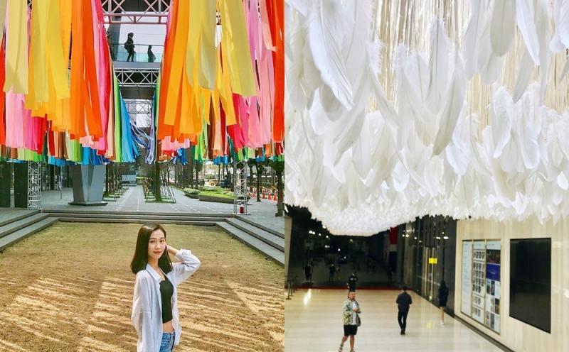 飛天彩虹、潔白羽毛海成打卡亮點!「粉樂町」藝術展走入信義商圈