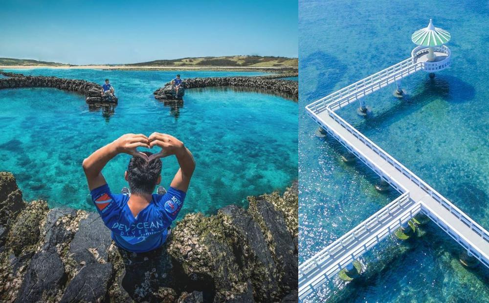 澎湖隱藏版「單心石滬」 浪漫爆棚!漸層藍海、純白雙曲橋一起拍 - 玩咖P