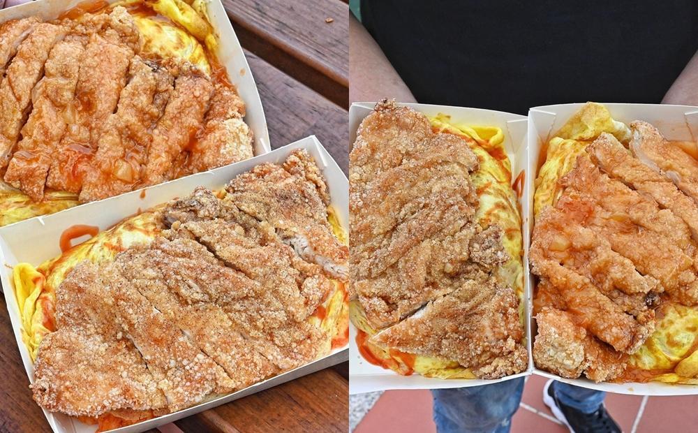 一盒80元飽兩餐!台中爆紅「雞排蛋包飯」巨無霸肉排任搭 3 種醬