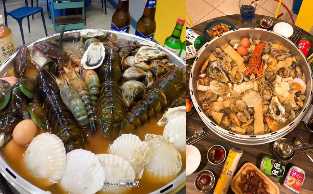 爆紅「韓式海鮮部隊鍋」比臉盆大10倍!整隻活龍蝦、生蠔淡菜加料不手軟