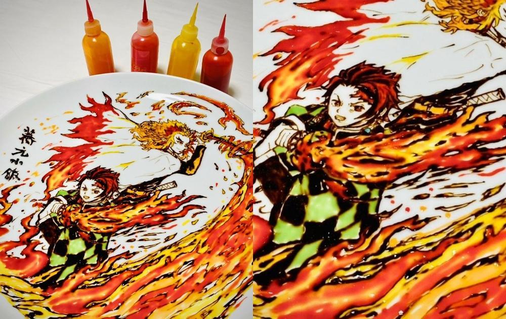 台灣餐盤彩繪神還原《鬼滅之刃》炭治郎!網狂讚:被餐廳耽誤的畫家