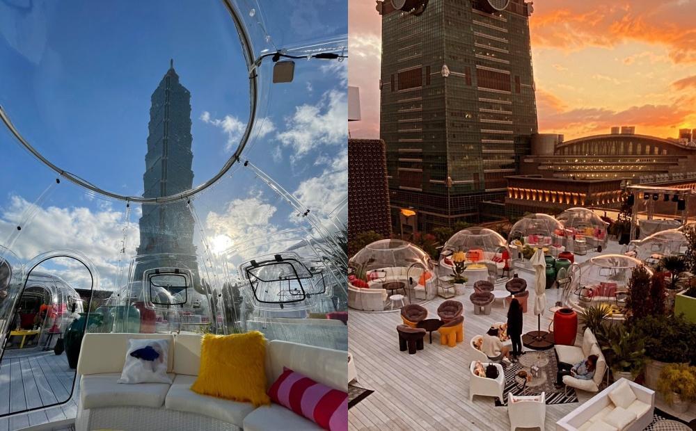 信義區「最美高空酒吧」改裝新開幕!純白地中海派對、玻璃泡泡屋賞101夜景