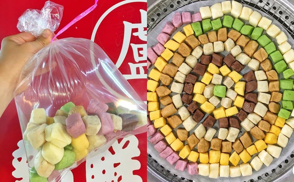 台中市場隱藏美食翻紅!8種口味「彩虹小饅頭」天然食材染色超繽紛