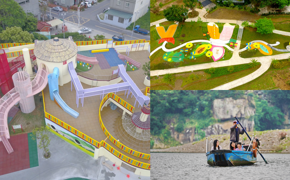 親子放電天堂4月新開放!苗栗彩色農村樂園、灣潭兒童遊戲場搭船才能到