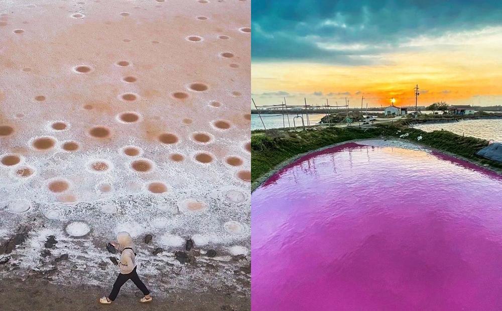 台南出現「鹽田波波洞、粉紅湖」乾旱奇景!網友打卡驚嘆如夢幻外太空