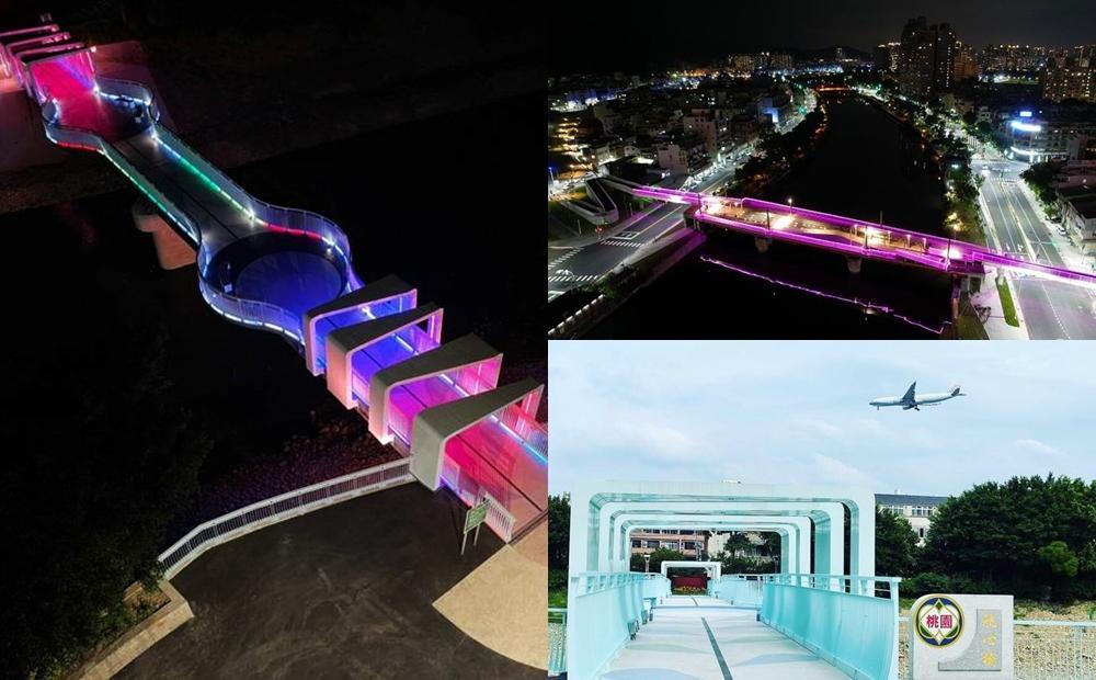 看飛機賞河景!全新景點「桃園航心橋、高雄愛河景觀橋」七彩燈光點亮溪畔