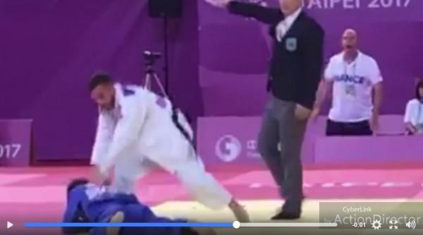 贏了還挑釁? 台法柔道賽台灣選手被狠推頭部