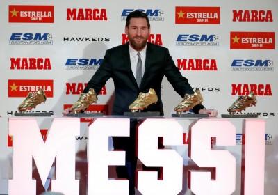 足球史上第1人 梅西5獲歐洲金靴獎