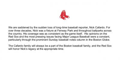 MLB》哀慟!資深記者在紅襪春訓基地猝逝