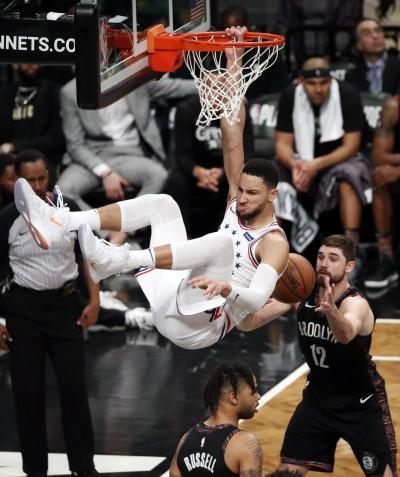 NBA》B.西蒙斯砍季後賽新高31分 率七六人宰籃網