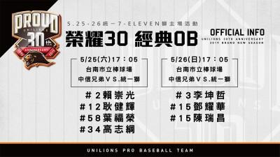 中職》統一獅榮耀30 傳統一戰邀請職棒元年選手回家