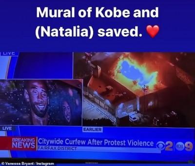 NBA》洛杉磯暴動市容慘遭破壞   唯獨「Kobe」完好無缺