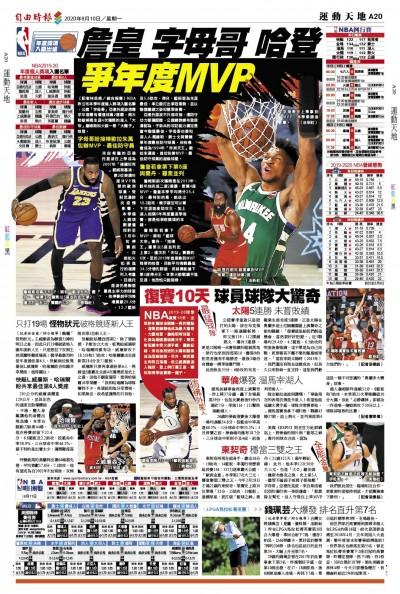 NBA》詹皇 字母哥 哈登 爭年度MVP