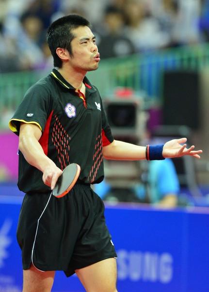 仁川亞運個人賽男單賽事,台灣選手莊智淵(見圖)、陳建安今天雙雙晉級16強。(資料照,記者王藝菘攝)