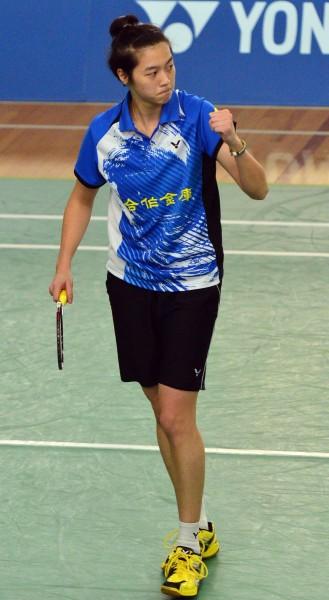 104年全國羽球排名賽甲組冠軍戰,女子單打白馭珀奪冠。(記者王藝菘攝)