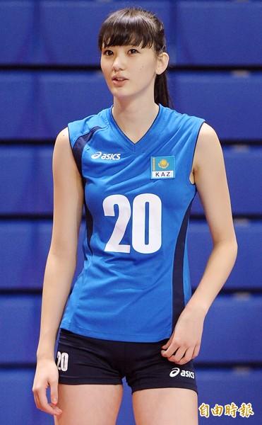 哈薩克排球甜心莎賓娜,今年4月可望再度來台巡迴,推廣排球運動。(資料照,記者朱沛雄攝)