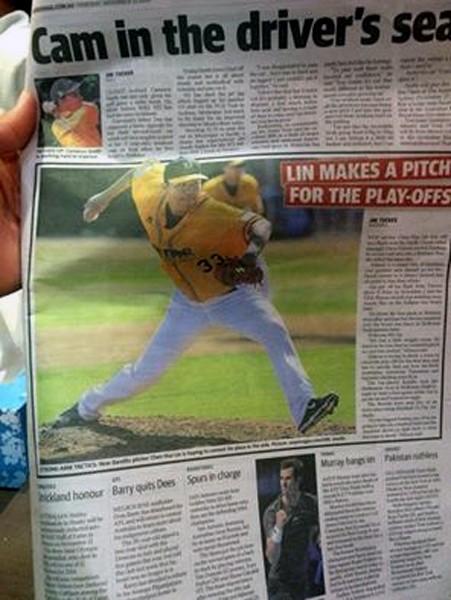 林晨樺在澳洲棒球聯盟的好表現,登上當地報紙。(圖:林晨樺提供)