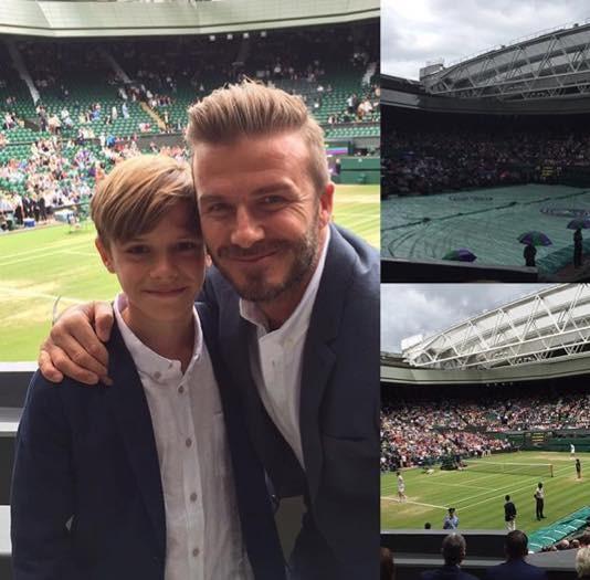 貝克漢帶兒子去看溫網,父子倆開心自拍留念。(圖擷取自貝克漢David Beckham臉書)