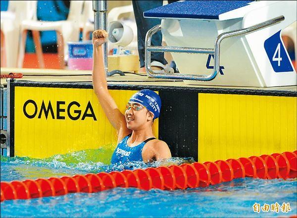 陳思綺在全運處女秀,先後刷新自己保持的女子100及50公尺仰式全國紀錄,她的目標是游進2020東京奧運。(記者黃志源攝)