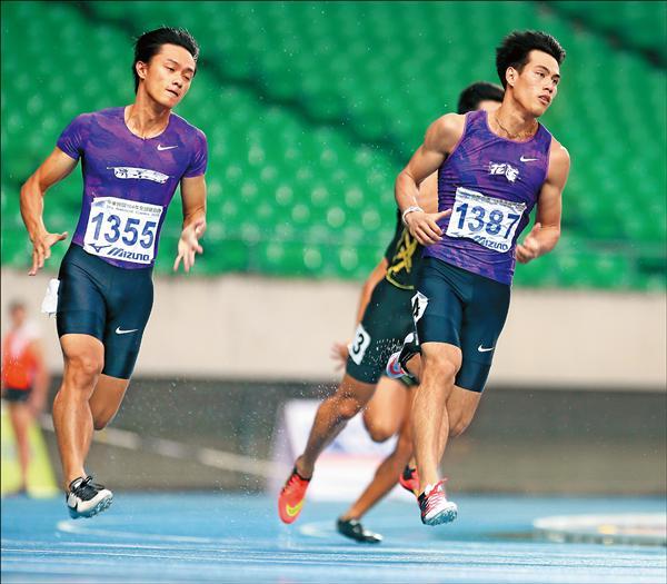 楊俊瀚(右)衝破200公尺全國紀錄,他說,現在是他離奧運最近的時候。(大會提供)
