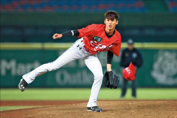蘇俊羽投球時球帽不時掉落,像極漫畫中強投。(中職提供)