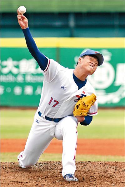 台灣培訓隊先發投手廖乙忠,昨先發4局僅失1分。(中職提供)