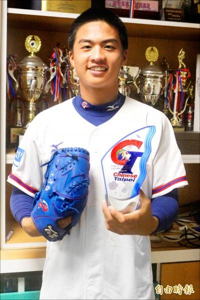 U18亞青賽王彥程對日本完投9局失1分奪勝投,拿下大會最佳投手獎。(記者羅志朋攝)